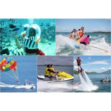 Water Blow, Parasailing, Banana Boat, Jet Sky, 1 x dive at nusa dua, Lunch, Uluwatu Temple
